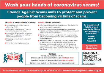 Friends Against Scams coronavirus postcard